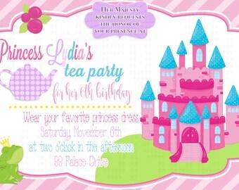 Princess Tea Party birthday invitation l Tea party l Polka Dot l 5x7 I Instant Download I Print at home