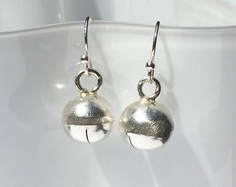 Sterling Silver Earrings, Hill Tribe Silver Bells, 1 Inch Dangle, Drop, Wire Wrap, Ball Beads, French Hook Earring Wires