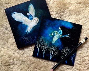 Pack of six greetings cards, two night bird designs