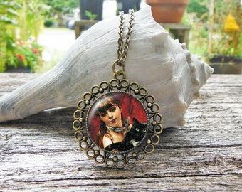 Girl with Cat Necklace, Vintage Cat Glass Dome Pendant Necklace