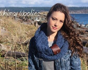 Infinity Crochet Scarf Pattern: Leather Cuffed Scarf, Boot Cuffs