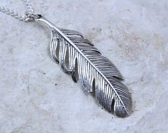 Sterling Silver Feather Necklace, Large sterling silver feather necklace choose Chain, large feather pendant necklace, feather necklace