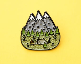 Mens Birthday Gift, Adventure Pin, Backpack Enamel Pin, Denim Jacket Pin, Mountain Pin, Forest Pin, Lapel Pins, Outdoorsy Gifts, Explore