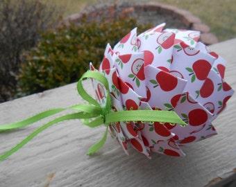 Apple Paper Ball Ornament. TEACHER GIFT, Decoration, Christmas, Gift, Birthday, Anniversary, Wedding. Polka Dot