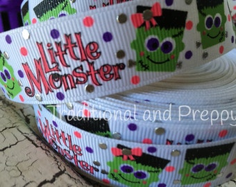 "7/8"" Halloween foil little monster grosgrain ribbon"