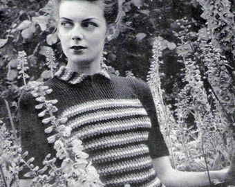 1940's Vintage Knitting Pattern Striped Sweater Make Do and Mend  pdf Instant  Download