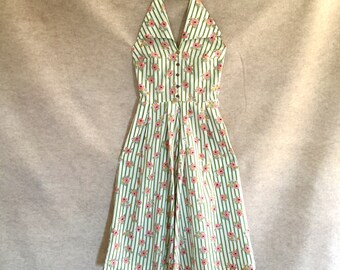 Vintage 50's Dress, Halter Sundress, White Cotton 50's Dress with Green Stripes, Pink Roses, Rockabilly, XS, Waist 25