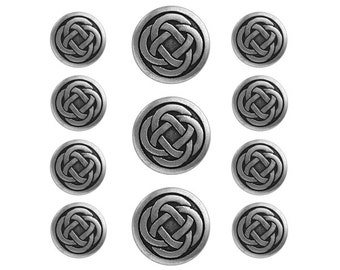 11 pc Celtic Knot Metal Blazer Button Set Antique Silver Color