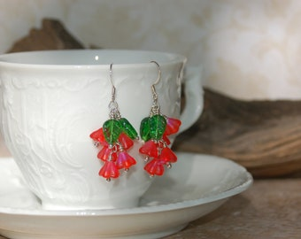 Baby Bell Red Flower Custer Earrings .....no. 633c