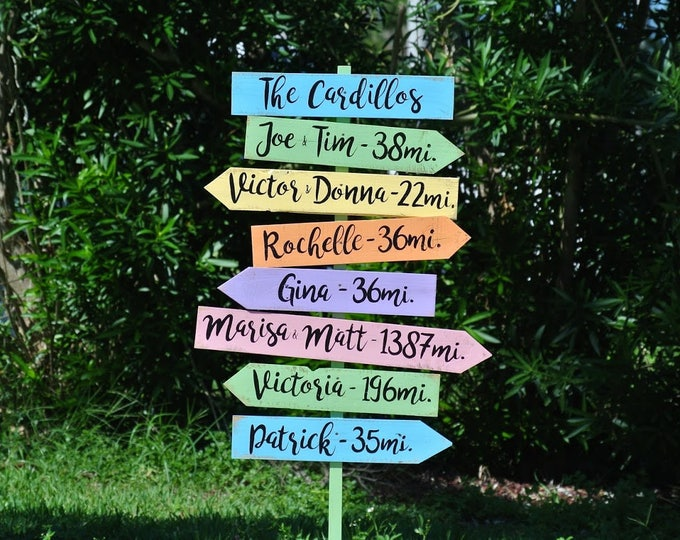 Family Name Sign Gift for Dad, Garden/Yard Decor Wooden Directional sign post, Outdoor Mileage signage, Unique Custom Housewarming gift