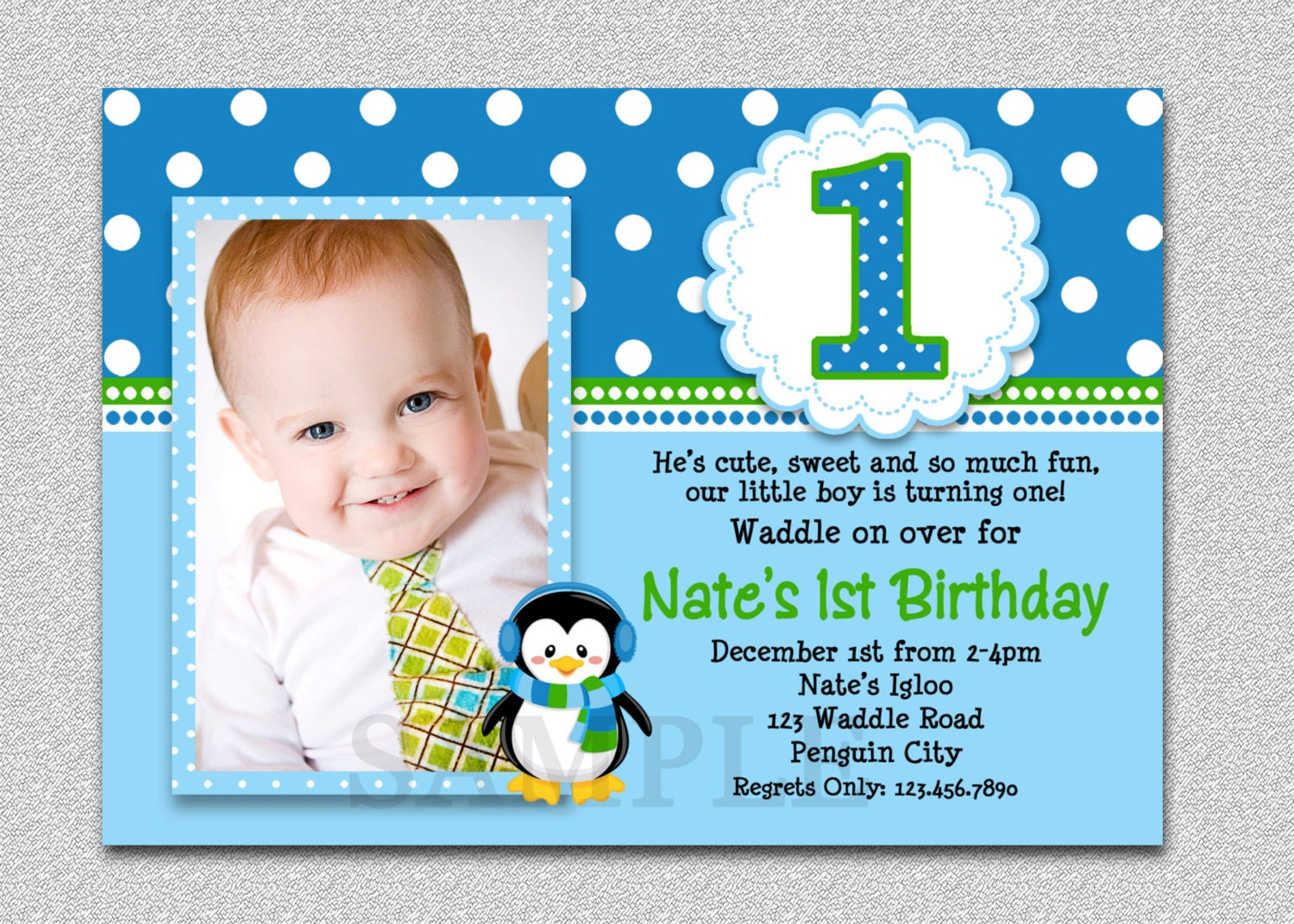 Penguin birthday invitation penguin 1st birthday party invites zoom stopboris Choice Image