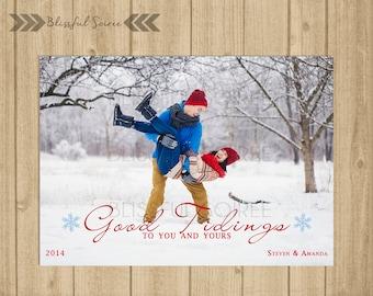 Custom Photo Christmas Card / Digital File / Christmas Card / Holiday Card / DIY Printable / Good Tidings Holiday Card