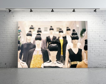 Unique Mannequin Photo. Mannequins, Black, White, Yellow, Heads, Quirky Mannequin Photo, Film Photo, 35mm, Fashion, Clothes, Hairstyle