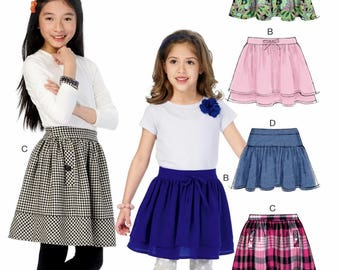 CLEARANCE- Girls' Skirt Pattern, Little Girls' Skirt Pattern, Girls' Zippered Skirt Pattern, McCall's Sewing Pattern 6984