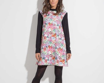 Casual ladies dress / Ladies dress / Colorful dress / Polo collar / dress with sleeves / Oversize dress / Designer dress