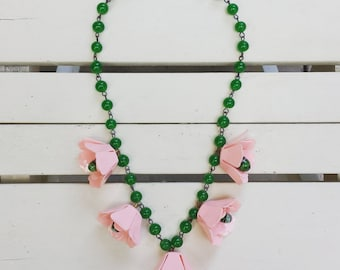 1940's vintage celluloid necklace - flowers - pink and green