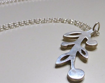 Silver leaf and bud pendant