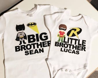 batman & Robin, big brother and little brother matcing shirts or bodysuits