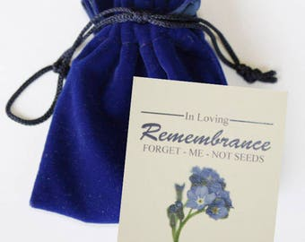 Forget-me-not Memorial Seed Packets in Velvet Pouches