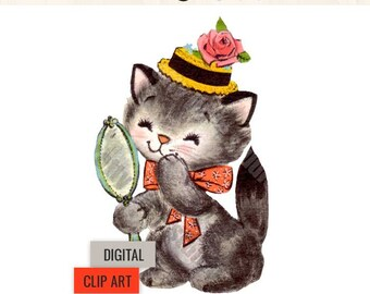 "Digital Vintage Image Clipart, ""Julip"" Kitten Kitty Cat"
