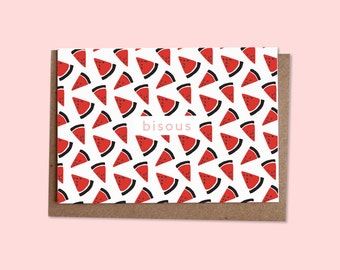 BISOUS Watermelon greetings card + recycled envelope