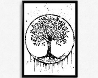 Tree of Life, Spirituality, Nature, Instant Download,Black and white, Poster, Room Decor, gift, printable wall art (493)