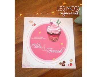 Pink cupcake treats wedding announcements