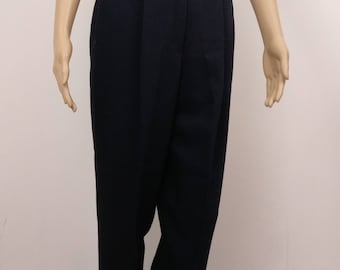 Vintage High Waist Trouser. 80's. 90's. Navy Blue. Pleat front. 26 inch waist. Size 10-12. Wool Blend