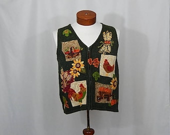 Roosters Hens Sunflowers Leaves Fall Autumn UGLY CHRISTMAS SWEATER Large L Green  Chicken Wheat