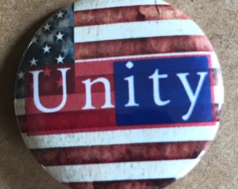 Unity Pinback Button, Election Pin, US Flag Election Magnet, Peace, Political backpack pins, custom pins and patches, Punk boho buttons