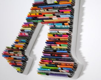 WHITE - letters made with recycled magazines- colorful, unique, nursery decoration, handmade, red, orange, yellow, green, blue, play room