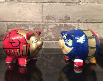 """Custom character piggy banks (small 3.5"""" med 5""""  lg 8"""")"""