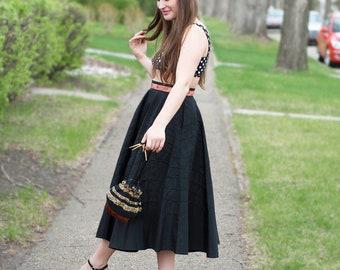 Vintage 1950s Lamplighter Originals Black Acetate Taffeta Circle Skirt