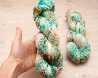 Hand dyed yarn - Superwash merino, nylon, sock yarn, hand dyed sock yarn, speckles, blue, coral, yellow, aqua, peach