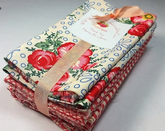 Merry Go Round - Fat Eights Bundle - Retro Fabrics - Stash Builder American Jane Moda 8 Cuts - Pink Florals Dots Stripes - Fabric Destash