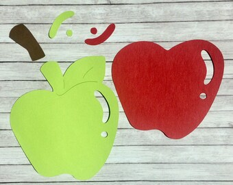 """Red & Green Apple Die Cut with Stem and Leaf 3"""" x 2.75"""""""