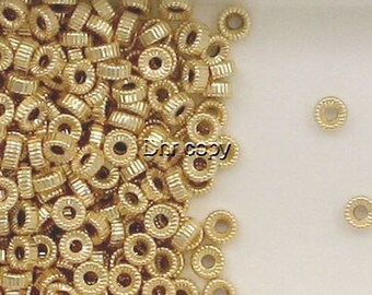 14K Gold Filled  6mm Corrugated Tire Flat Round Spacer Beads, Choice of Quantity