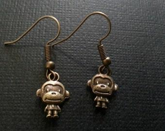 Bronze Kawaii Monkey Earrings