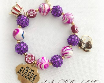 WHIMSICAL CIRCUS Stretch BRACELET with Monkey, Circus Tent, Tag and Peanut Charms