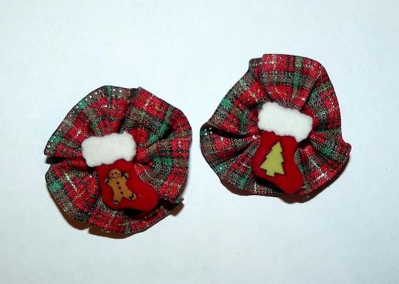Puppy Bows ~ Christmas green red gold pinwheel pairs dog  pet hair bow (fb53)
