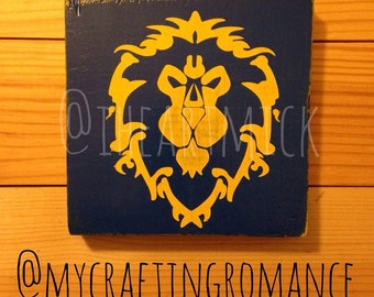 World of Warcraft - Alliance Symbol - 5.5 x 5 inch Wood Sign - Blue and Yellow