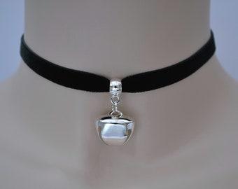 Bell Black Velvet Cat Collar Choker With Large Silver Jingle Bell Charm, 16 Ribbon Colours, 10mm