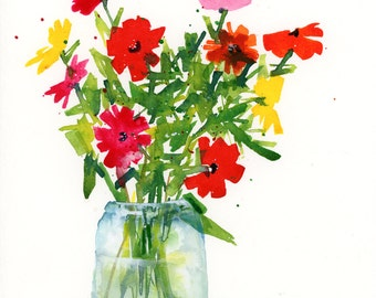 Watercolor Floral Print, Flowers, Glass, Vase, Bouquet, Jar, Abstract Art Print, Nature, Modern Art
