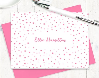 personalized stationery set - CONFETTI - set of 8 folded note cards - stationary - party cards - gift for her - choose color