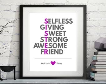 Sister Acrostic Art, Big Sister Gift, Sister Poem, Custom Gifts for Sisters, Personalized Sister Gift, Sister Art, Little Sister Print