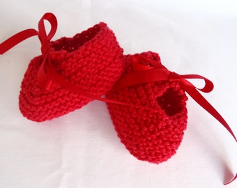 Handknitted Cotton Booties for Newborns - Red