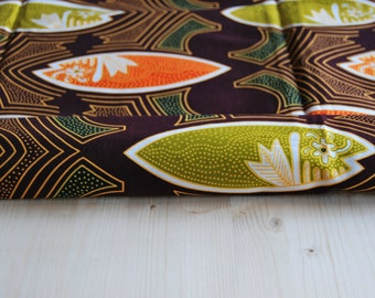 Nigerian Fabric, Brown Fabric by the Yard, 100 Percent Cotton Fabric, Brown with Orange and Green Fishes, African Wax Print. Cod.52