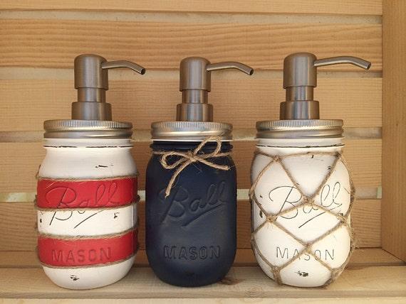 Choose 1 mason jar soap dispenser nautical nautical decor for Fish soap dispenser