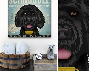 Schnoodle Dog Coffee Company graphic illustration on canvas panel by Stephen Fowler