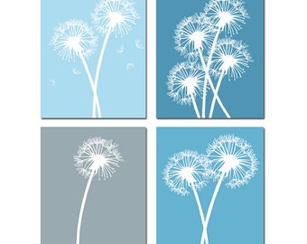 Dandelion Wall Art Dandelion Decor Dandelion Art Set Of 4 Prints Flower Wall  Art Flower Decor Poppies Art Poppy Art   CHOOSE YOUR COLORS